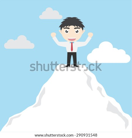 Businessman go to the top of mountain - stock vector