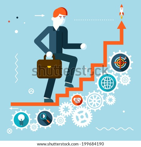 Businessman Goes Success Infographic Stairs Symbol Gears icons on Stylish Background Modern Flat Design Vector Illustration - stock vector
