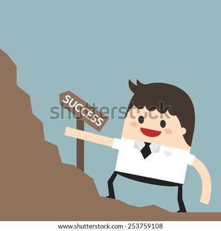 Businessman goes to the goal achievement Successful business concept. flat design. business concept. - stock vector