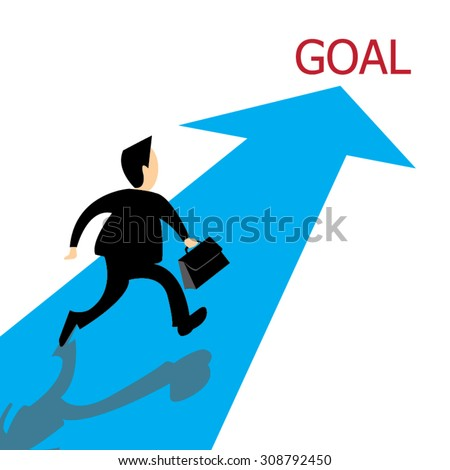 Businessman going on blue arrow  to his goal; business concept