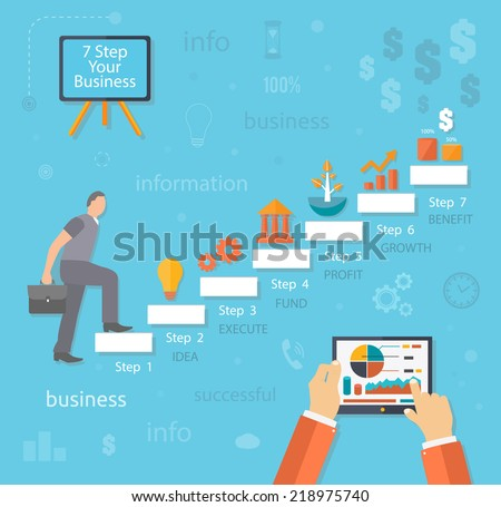 Businessman going up. Business man with case rises to top step of stairs. 7 steps text idea execute fund profit growth benefit flat design style - stock vector