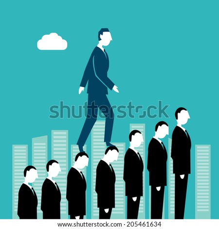 Businessman going up human stairs - stock vector