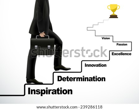 businessman going up to the success way over white - stock vector