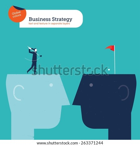 Businessman golf player shooting from one head to another. Vector illustration Eps10 file. Global colors. Text and Texture in separate layers. - stock vector