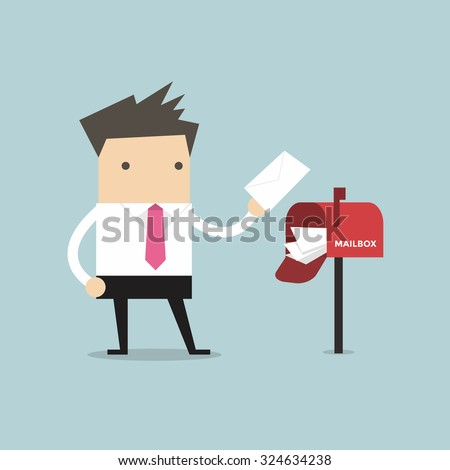 Businessman got a lot of mail in red mailbox. - stock vector