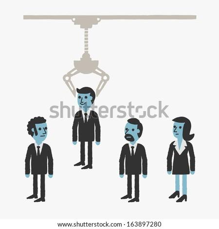 Businessman Grab Machine - stock vector