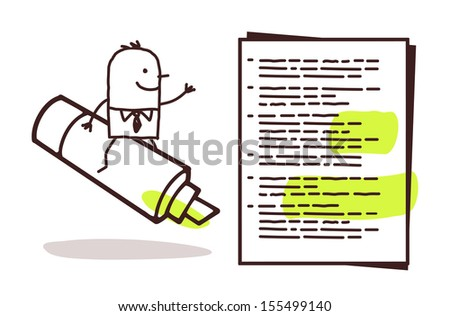businessman & green marker - stock vector