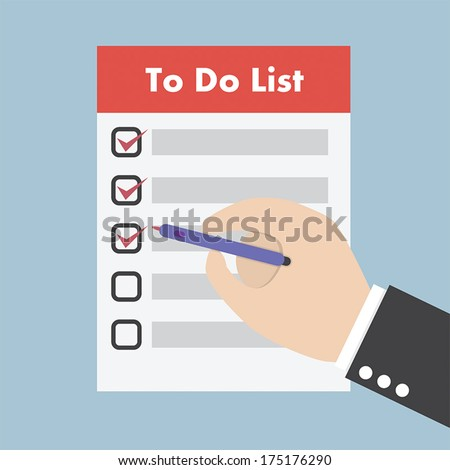Businessman hand check the checklist, VECTOR, EPS10 - stock vector