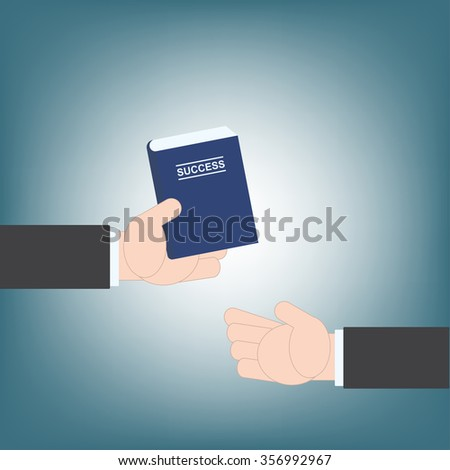 businessman hand giving book success idea guide from hand to hand, vector illustration