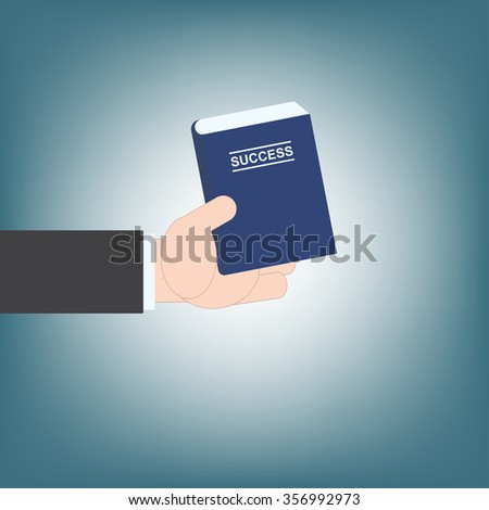 businessman hand giving book success idea guide, vector illustration