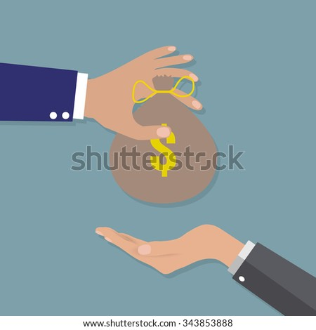 Businessman Hand giving money bag to other hand. vector illustration in flat design on gray background, Financial, work motivation - stock vector