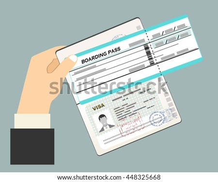Businessman hand hold passport with visa stamp and Boarding Pass. Flat Vector Illustration