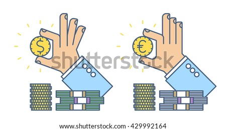 Businessman hand holding a dollar and euro coin. Flat line business concept illustration of two types hand, money cash. Isolated vector infographic element for web design, presentation, social network - stock vector