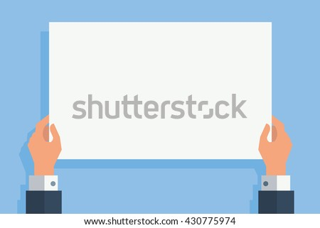 Businessman hand holding blank white paper for your text or  copy space or your design, flat design with shadow.  - stock vector