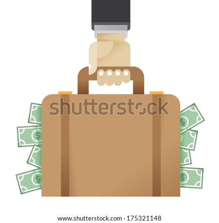 Businessman hand holding business briefcase full of money. With free space on briefcase for your business text. Enjoy! - stock vector