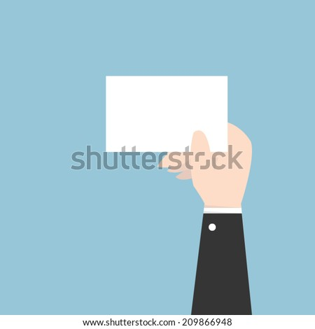 Businessman hand holding card, flat design, vector EPS10. - stock vector