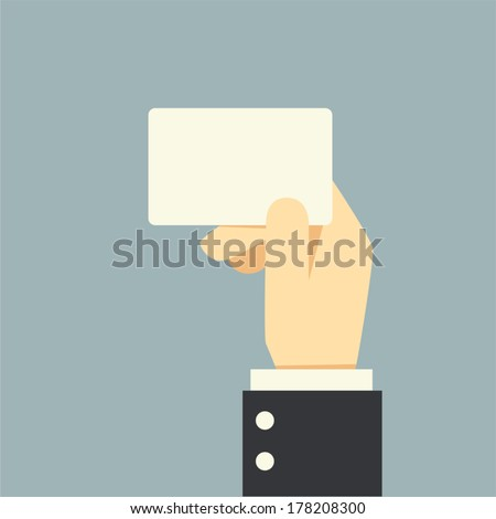 Businessman hand holding card,vector