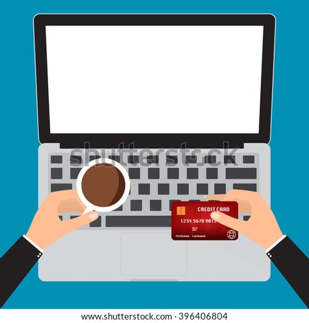 businessman hand holding coffee cup and credit card for online paying on laptop notebook pc. Vector illustration business concept design. - stock vector