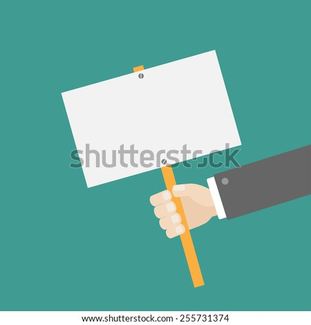 Businessman hand holding empty paper blank sign plate Flat design Vector illustration