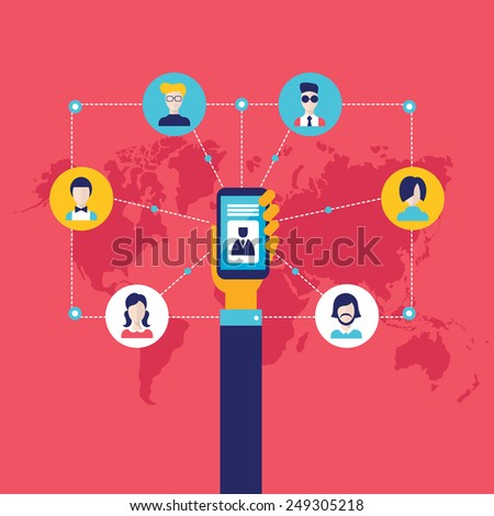 Businessman hand holding mobile smart phone with web icons Social network and communication concept  - stock vector