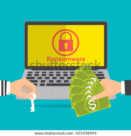 Businessman hand holding money banknote for paying the key from hacker for unlock folder got ransomware malware virus computer. Vector illustration technology data privacy and security concept. - stock vector