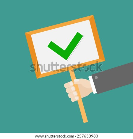 Businessman hand holding paper blank sign plate with green tick check mark Flat design Vector illustration - stock vector