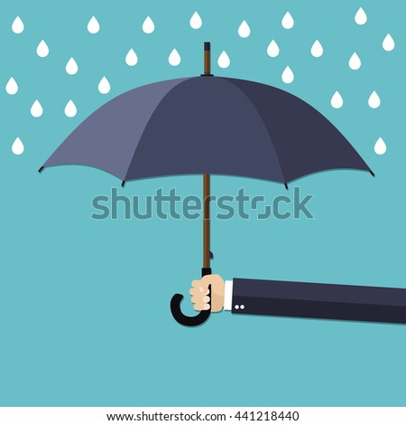 Businessman Hand holding umbrella under rain. The concept of protection, insurance. Vector illustration in flat style - stock vector