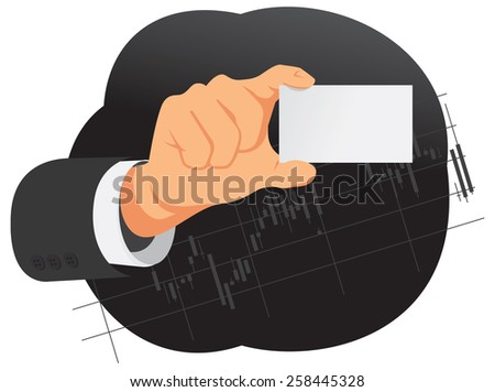 Businessman hand is holding blank card with copy space - stock vector
