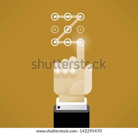 Businessman hand performing touch gesture to unlock device. Idea - Security technologies, Limited access, Passwords and Unlocking mobile phones concepts. Enjoy! - stock vector