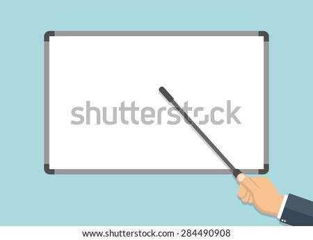 Businessman hand pointing to a blank white board with a pointer - Flat style - stock vector