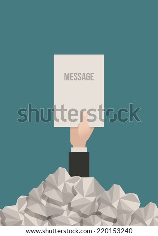 Businessman hand reaches out from a pile of paperwork with a message. - stock vector