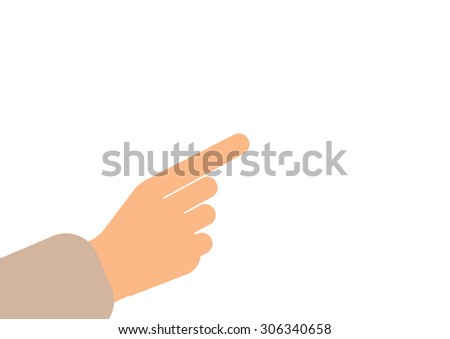 businessman hand. right forefinger pointing to, Pointing hand finger in vector on white background - stock vector