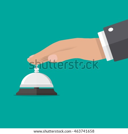 Businessman hand ringing in service bell, vector illustration in flat style on green background