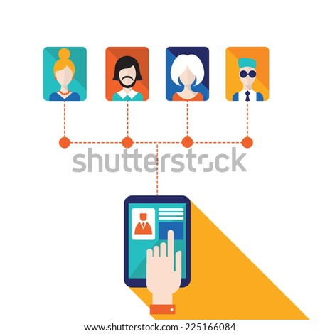 Businessman hand touching the tablet screen with web icons. Stay in touch, social network and e-commerce, successful business concept. Vector illustration  - stock vector