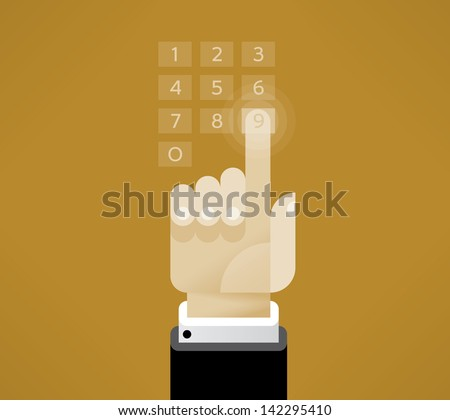 Businessman hand touching virtual number keyboard. Idea - PIN, Security Password, ATM keyboard concepts. Enjoy! - stock vector