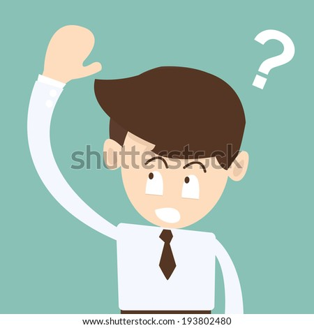 Businessman hand up a Ask Questions -  questions marks concept - stock vector