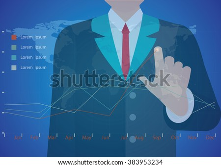 Businessman hand working with new modern computer and business strategy as conceptual vector illustration. - stock vector