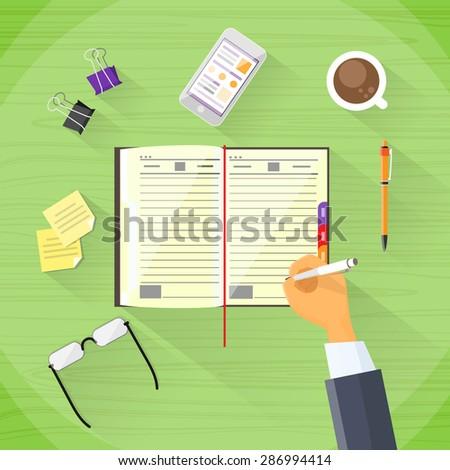 Businessman Hand Write Pen Notebook Desk Flat Vector Illustration - stock vector