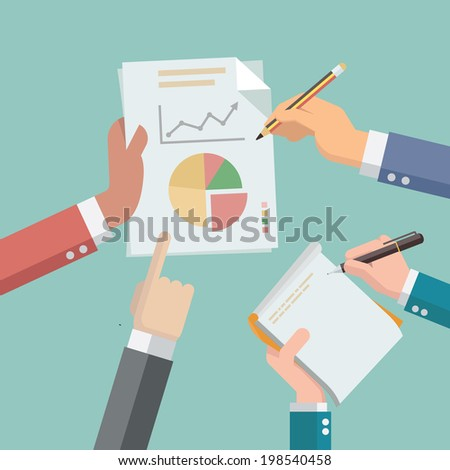 Businessman hands busy with paper and financial chart and graph, while secretary hand take note on notepad. Flat design style. - stock vector