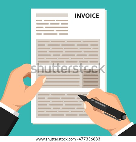 Businessman hands filling tax form. Government, state taxes. Tax payment concept. Flat vector illustration.