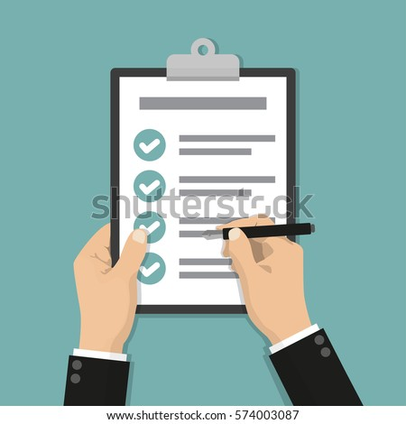 Businessman hands holding clipboard checklist with pen in a flat design