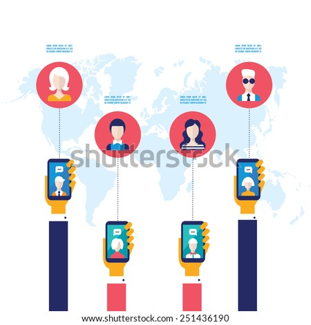 Businessman hands holding mobile smart phone with web icons Social network and e-commerce Successful business concept  - stock vector