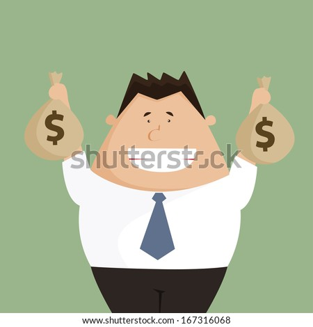 Businessman hands holding money bag - stock vector