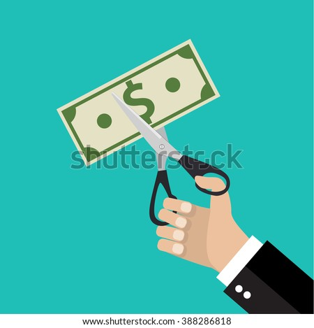 Businessman Hands holding scissors and cutting money bill. Reducing cost concept. vector illustration in flat design on green background - stock vector