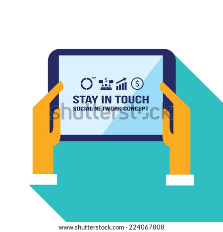 Businessman hands holding the tablet with web icons. Stay in touch, social network and e-commerce concept. Vector illustration
