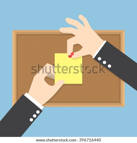 Businessman hands pin sticky notes on cork bulletin board, VECTOR, EPS10 - stock vector