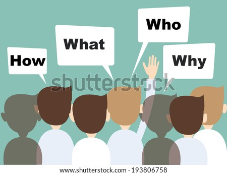 businessman hands raised up Ask questions  - stock vector