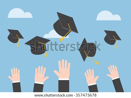 Businessman hands throwing graduation hat in the air, VECTOR, EPS10