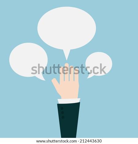 Businessman hands with speech bubble. - stock vector