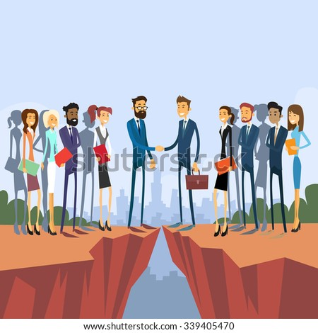 Businessman Handshake Over Cliff Gap Mountain, Businesspeople Group Team Management Concept Business People Hand Shake Flat Retro Vector Illustration - stock vector